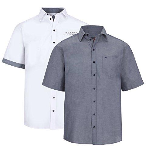 JAN VANDERSTORM Herren Doppelpack Hemd EVIN in Übergröße Große Größen Plus Size Big Size XL XXL XXXL 4XL 5XL 6XL 7XL 8XL 9XL 10XL Weiß
