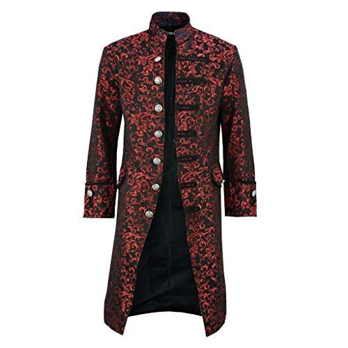 CommittedeHerren Jacke Frack Steampunk Gothic Gehrock Uniform Cosplay Kostüm Smoking Mantel Retro Viktorianischen Langer Uniformkleid Plus Size Männer Langarm (Gothic Babydoll Kostüm)