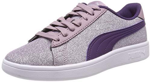 Puma Mädchen Smash v2 Glitz Glam Jr Sneaker, Pink (Elderberry-Indigo-Puma Silver-Puma White), 38.5 EU