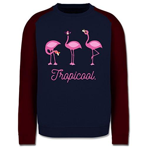 Vögel - Tropicool Flamingo Gang - Herren Baseball Pullover Navy Blau/Burgundrot