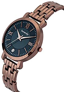 Howdy Stylish Brown Stainless Steel,Date Watch for Women & Girls