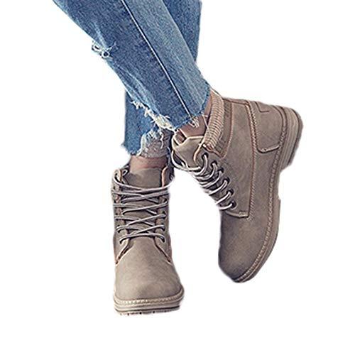 Preisvergleich Produktbild TianWlio Schüler Schnee Aufladungen Damen Stiefel Stiefeletten Frauen Feste Schnürstiefel Beiläufige Stiefeletten Runde Zehe Schuhe