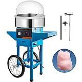 Jolipro Machine à Barbe à Papa Bleue Professionnelle avec Chariot et Couvercle (bleu)