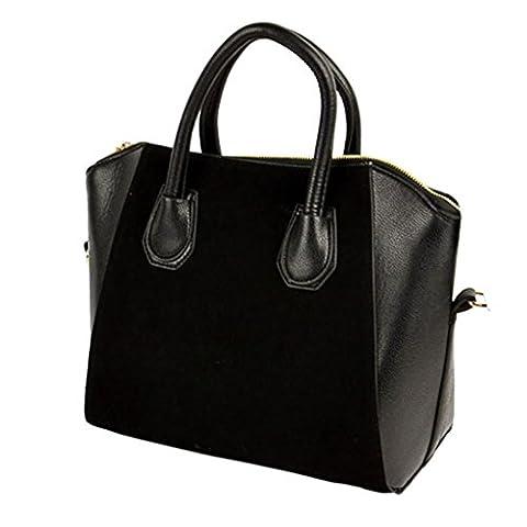 Sac à bandoulière - All4you dames Nubbuck PU cuir sourire main sac bandoulière Bag (Black)