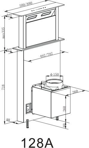 41kS47B2 4L - Cookology Downdraft Extractor Fan 60cm Kitchen Island Cooker Hood (Stainless Steel & Black)