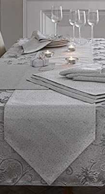 Christmas Table Runner Ravina Silver Grey 35cm x 200cm