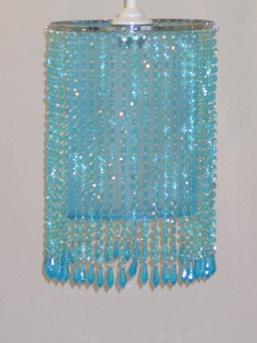 Dapo Trendiger Leuchtenschirm mit Kunststoff-Perlen und Organzastoff Starlet türkis Schirm