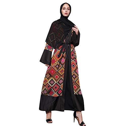 Scrolor Frauen Ethnische Roben Kleidung Abaya Islamischer Moslemischer Mittlerer Osten Maxi Open Strickjacke Kaftan Elegantes Multi Farbmuster für Abschlussball Party(Schwarz,XXXXL)