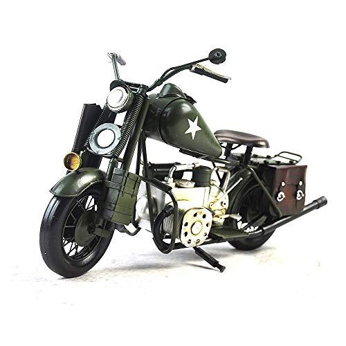 Vjukub antico seconda guerra mondiale moto militare modello in banda stagnata mano retrò ferro arte casa auto decorazione decorazione disposizione fotografia puntelli 38 * 15 * 21cm