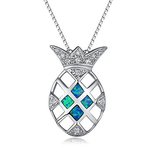 City Ouna® Monili delle signore catena d'argento placcato Ananas Opal goccia collana del pendente blu per le ragazze le donne di San Valentino