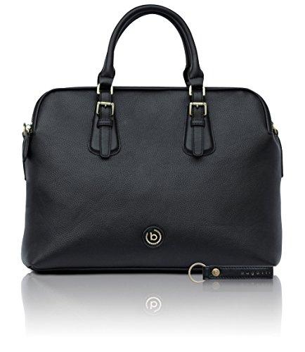bugatti Passione schwarze Kunstleder Businesstasche für Damen - edle Aktentasche in schwarz