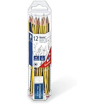 Set de 12 crayons de papier avec gomme, avec le petit multiplication, à prévoir, s'entraîner