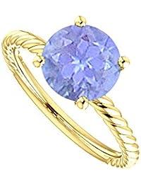 Trendy Tanzanite Designer Rope Ring in 14K Yellow Gold