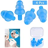 OFNMY 2 Pairs of Anti Sound Earplugs Soft Silicone Soundproof Noise Reduction Earbuds for Travel, Sleep, Study, Swimming (Blue)