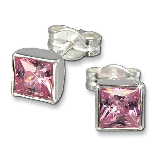 SilberDream Damen-Ohrringe 925 Sterling Silber Viereck Zirkonia rosa SDO558A (Rosa Stein Modeschmuck)