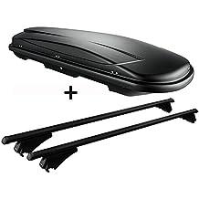 Dachbox schwarz VDP JUXT 400 großer Dachkoffer 400 Liter abschließbar + Alu-Relingträger schwarz Dachgepäckträger für aufliegende Reling im Set für Seat Leon III ST ab 2012