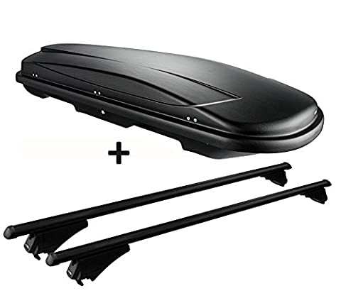 Dachbox schwarz VDP JUXT 600 großer Dachkoffer 600 Liter abschließbar + Alu-Relingträger Dachgepäckträger für aufliegende Reling im Set für Audi A4 (8K) Avant (Test 2008)