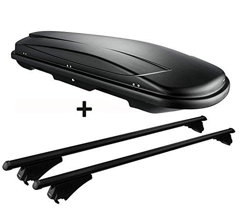 VDP Dachbox schwarz Juxt 600 großer Dachkoffer 600 Liter abschließbar + Alu-Relingträger Dachgepäckträger für aufliegende Reling im Set für Hyundai ix35 ab 10