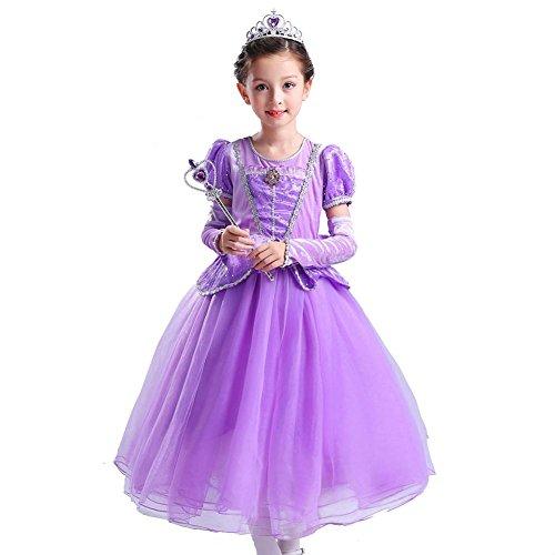 blumen mädchen kleider kinder kronen zauberstab tulle hochzeits prinzessin scherzt weihnachten halloween . purple . (Halloween Tänzer Ballsaal Kostüme)