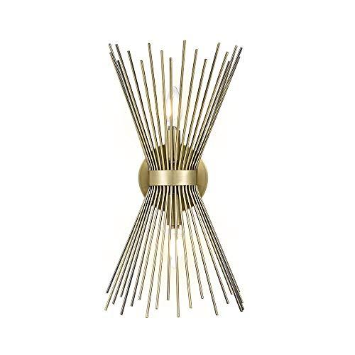 Fubon Niete Mitte des Jahrhunderts moderne Starburst WandLeuchte Lampe mit 2 Glühbirnen - 8,25 X 5 X 17,5 Zoll, Antik Gold -