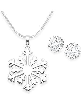 Sterling Silber Schneeflocke Ohrringe und Halskette auf 40,6cm Silber Kette–Größe: 21mm und 7mm. Schneeflocke...