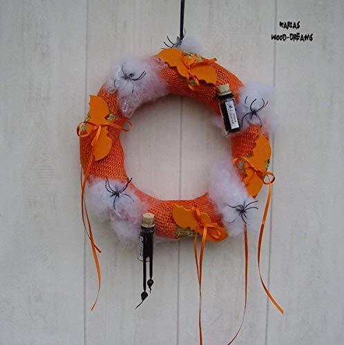Türdeko, Halloween, Spinne, Totenkopf, orange