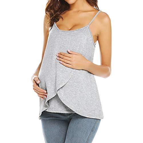 LEXUPE Damen Schwangere Strappy Weste Krankenpflege Tops Mutterschaft Stillen T-Shirt Bluse ÄRmelloses T-Shirt FüR Frauen Mit Doppelter Mutterschaft