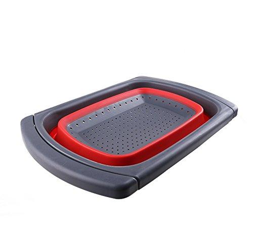 Scolapasta pieghevole da TimeCollect, filtri di cibo per cucina, colino espandibile, cestino di frutta pieghevole, sopra lavello Basket - dimensioni: 38,4 x 26,9 x 4,8 cm