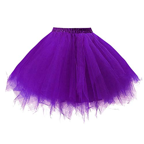 Bubble Kostüm - GirstunmBrand Damen 50er Vintage Tüllrock Petticoat Mehrfarbig Bubble Tanzkleid Rock Violett-L/XL