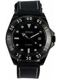 LIV MORRIS PARNIS MIYOTA 3205 0732066353874 - Reloj para hombres, correa de cuero color negro
