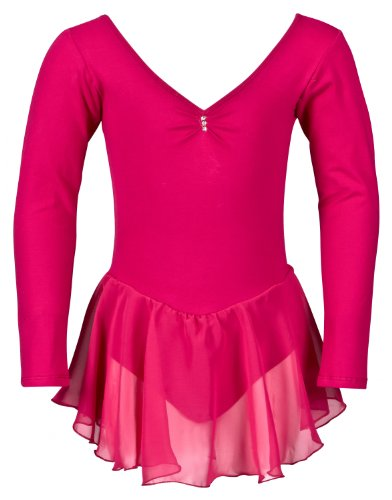 tanzmuster Ballettkleidung für Kinder: Langarm Ballettanzug Ballett Trikot Anna mit Chiffon Röckchen. Edles Ballettkleid mit Strass Applikation am Ausschnitt in pink, Größe:128/134