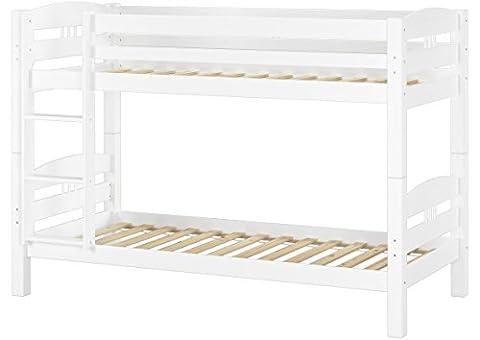 Erst-Holz 60.10–09W Lit superposé en pin blanc 90x 200avec 2sommiers Roll, lit double, lit superposé