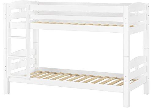 Letto a castello 90x200 per bambini in Pino Eco bianco divisibile con assi di legno 60.10-09 W
