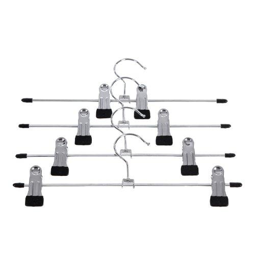 SONGMICS Hosenbügel Hosenspanner 31 cm Metall Kleiderbügel mit Clips für Hosen/Röcke Rutschfest platzsparend - verchromt 10 Stück CRI003-10