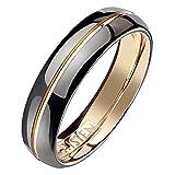 Mianova Band Ring Titan Wolfram Schwarz Rosegold IP Ehering Herrenring Damenring Partnerring Freundschaftsring Damen Herren Größe 60 (19.1)