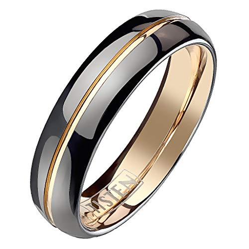 Mianova Band Ring Titan Wolfram Schwarz Rosegold IP Ehering Herrenring Damenring Partnerring Freundschaftsring Damen Herren Größe 66 (21.0) - Damen-verlobungsringe, Größe 11