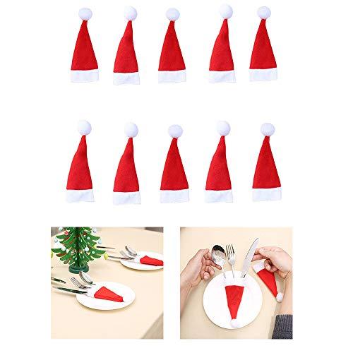 Yogogo 10 PCS Porte-Couverts DéCors DéCorations De NoëL Housse Sac Rangement De De NoëL Chapeau Cap Outil De NoëL DéCoration pour La Maison (Rouge)