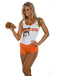 Womans Hooters Vest and Orange Sexy Short Hot Pants Fancy Dress Set
