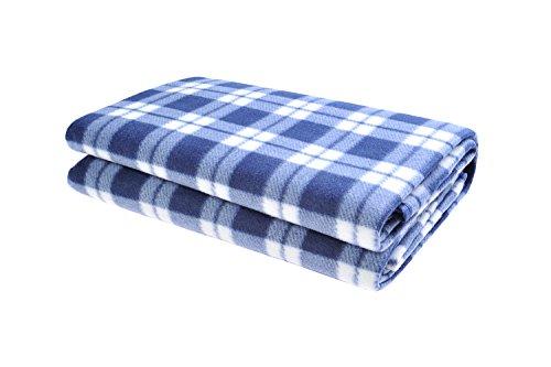 The Khan Outdoor & Lifestyle Company Picknickdecke, Maße 130 cm x 150cm, blau, grob gestreift - Mod. SY-037-02 (DE)