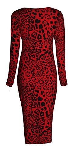 Fast Fashion - Robe Manches Longues Bodycon Imprimée Longue Midi Stretchy - Femmes Léopard Rouge