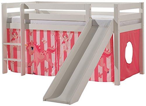 """VIPACK PICOHSGB1478 Spielbett Pino mit Rutsche und Textilset """"Pferde"""", Maße 210 x 114 x 218 cm, Liegefläche 90 x 200 cm, Kiefer massiv weiß lackiert"""