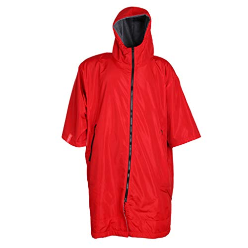CUTICATE Regenponcho mit Fleecefutter Fahrrad Regenschutz Regencape mit Kapuze Regenmantel Regenbekleidung - Rot und Silber