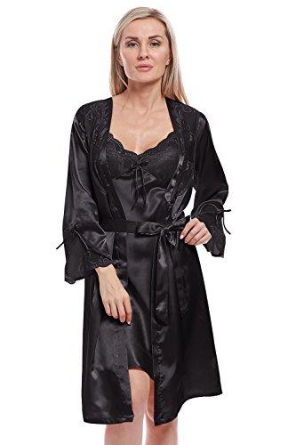 BellisMira Damen Kimono Morgenmantel Satin Bademantel Negligee Lace Nachtwäsche Seiden Robe Pajamas Schlafanzug Sleepwear (Nur Robe) - Charmeuse Babydoll Set