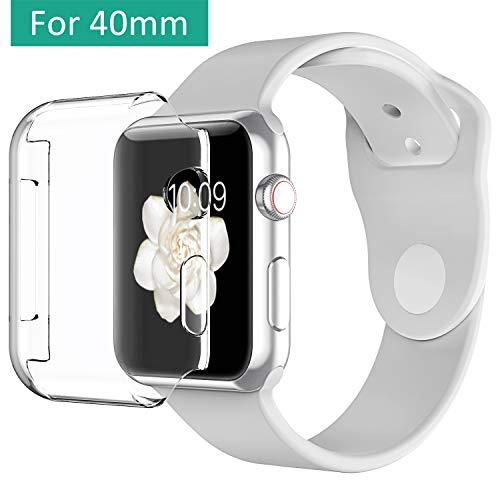 Vproof Cover Apple Watch 4系列,iWatch 40mm屏幕保护套[Touch 3D] [全方位保护] [非常清晰]用于Apple Watch的软TPU保险杠保护膜4(2018)(透明)