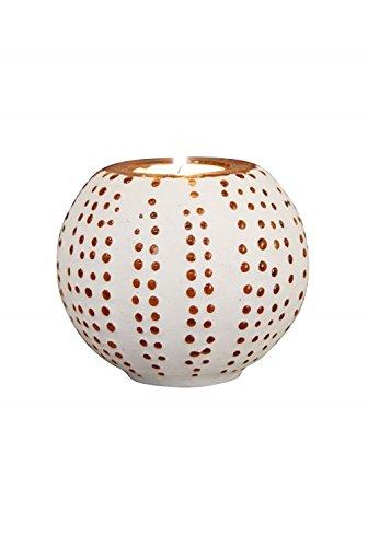 Decoshop Bougeoir Blanc avec mosaïques ambres