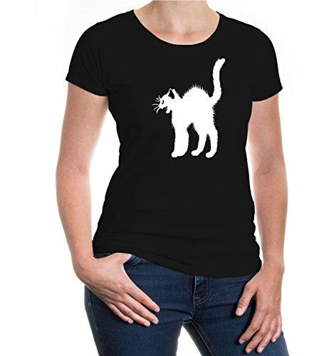 buXsbaum® Damen Girlie Kurzarm T-Shirt Katzenbuckel Katze   Katzensprache Krallen Katzenbuch   L black-white Schwarz