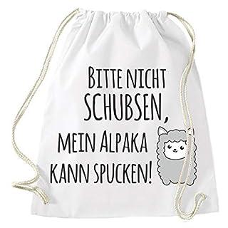 Mein Zwergenland Jutebeutel Mein Alpaka kann Spucken!, 12 L, Weiß