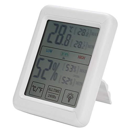 Digitales LCD-Hygrometer für den Innen- und Außenbereich mit Mini-Thermometer-Anzeige und Temperatur-Luftfeuchtigkeitsmesser für Babyzimmer im Büro zu Hause, Touchscreen-Hintergrundbeleuchtung -