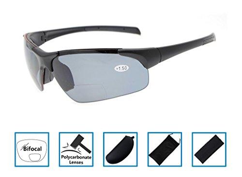972ddb5d59 Gr8Sight UV400 Wraparound Designer Style Sports Half-Rimless Tinted Bifocal  Reading Glasses Sun Readers With Case Men Women Matte Black Frame Grey Lens  +1.5