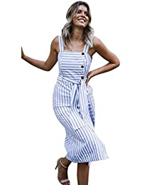 9807b81eb809 Longra Gonna a Righe da Donna Vestito da Cintura Vestito da Imbracatura  Vestiti Da Canotta Da Donna Vestiti Donna Estate Lunghi Casual…